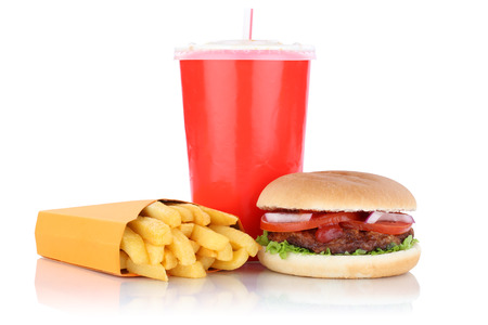 fast meal: Hamburger and fries menu meal combo fast food drink isolated on a white background