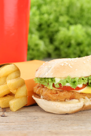 fast meal: Chickenburger chicken burger hamburger fries menu meal combo fast food cola drink Stock Photo