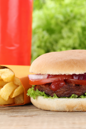 fast meal: Hamburger and fries menu meal combo fast food cola drink Stock Photo