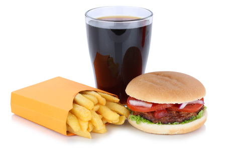 fast meal: Hamburger and french fries menu meal combo cola drink fast food isolated on a white background
