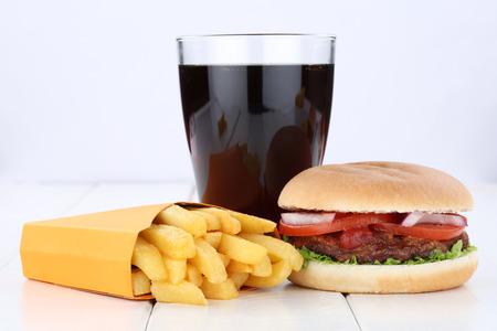 Hamburger and fries menu meal combo cola drink unhealthy eating food