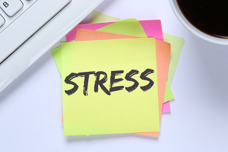 destress: Stress stressed burnout at work relaxed desk computer keyboard Stock Photo