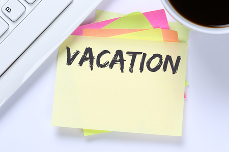 the furlough: Vacation holiday holidays relax relaxed break free time business desk computer keyboard Stock Photo