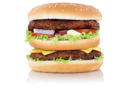 eating pastry: Double burger hamburger cheese isolated on a white background