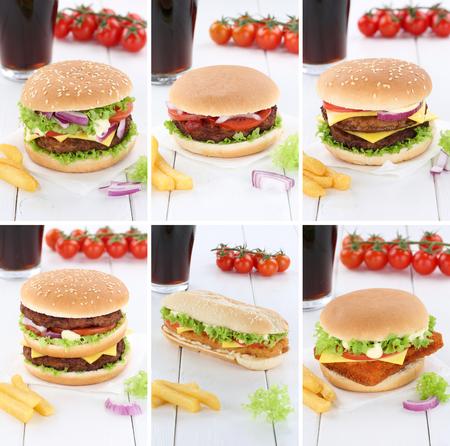 fast meal: Hamburger collection set cheeseburger menu meal cola drink fast food