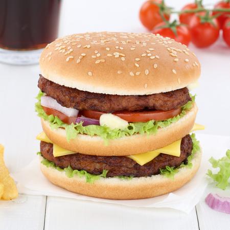 fast meal: Double burger hamburger menu meal cola drink fast food