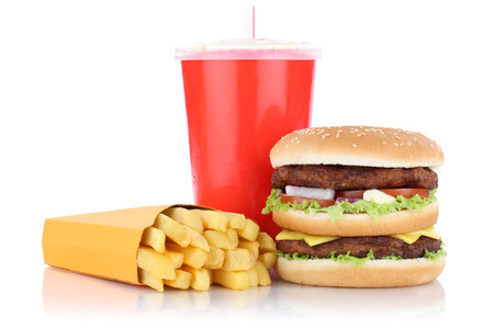 fast meal: Double burger hamburger and fries menu meal combo fast food drink isolated on a white background