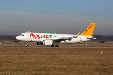str: Stuttgart, Germany - December 22, 2016: A Pegasus Airlines Airbus A320neo with the registration TC-NBD landing at Stuttgart Airport (STR) in Germany. Pegasus Airlines is an airline from Turkey with its headquarters in Istanbul. Editorial