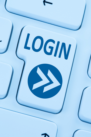 internet buttons: Login button submit blue computer online web keyboard