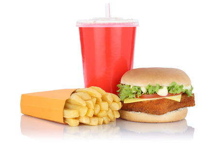 fast meal: Fish burger fishburger hamburger and fries menu meal combo fast food drink isolated on a white background