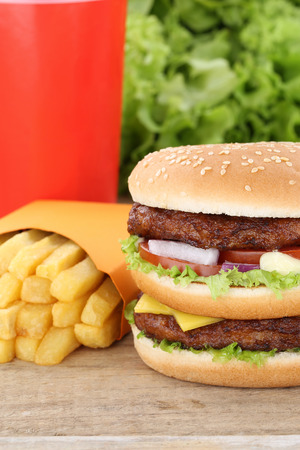 fast meal: Double burger hamburger and fries menu meal combo fast food cola drink