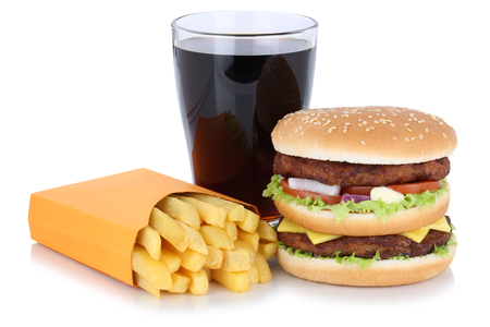 fast meal: Double burger hamburger and french fries menu meal combo cola drink fast food isolated on a white background