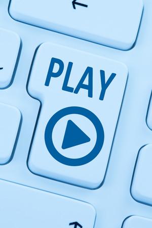 Press Play Button listening music movie internet blue computer web keyboard