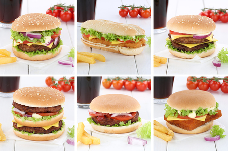 fast meal: Hamburger collection set cheeseburger burger menu meal cola drink fast food