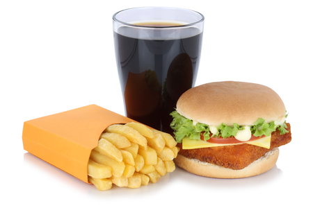 fast meal: Fish burger fishburger hamburger and french fries menu meal combo cola drink fast food isolated on a white background