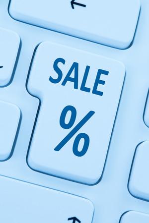 internet sale: Sale discount online shopping e-commerce internet shop concept blue computer web keyboard Stock Photo