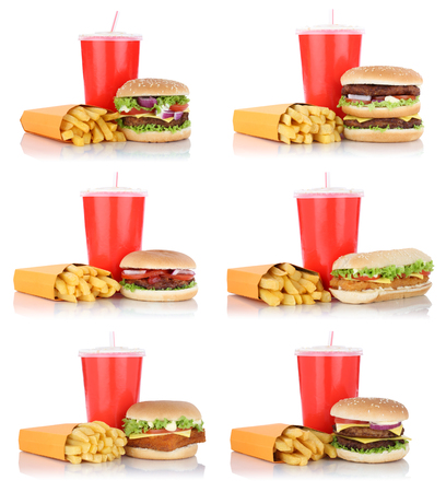 fast meal: Hamburger collection set cheeseburger and fries menu meal combo fast food drink isolated on a white background