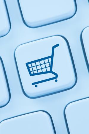 web shopping: Online shopping e-commerce ecommerce internet shop computer web keyboard Stock Photo