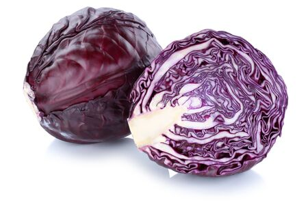 isolated on white: Red cabbage sliced fresh vegetable isolated on a white background