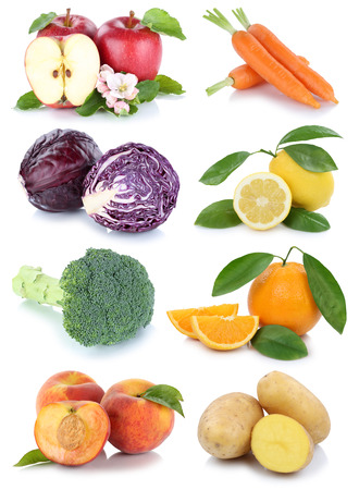 Fruits and vegetables collection isolated apple orange peach carrots carrot fresh fruit isolated on a white background