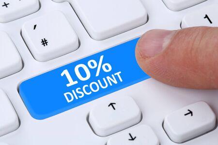 internet sale: 10% ten percent discount button coupon voucher sale online shopping internet shop computer Stock Photo