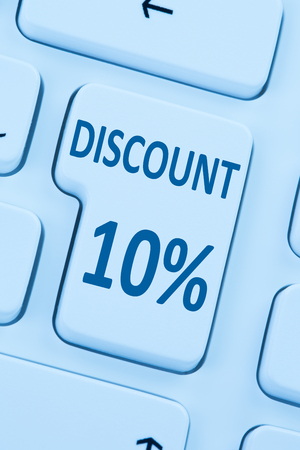 internet sale: 10% ten percent discount button coupon sale online shopping internet shop computer Stock Photo