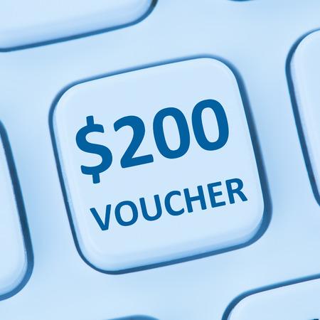 internet sale: 200 Dollar voucher gift discount sale online shopping internet store shop computer