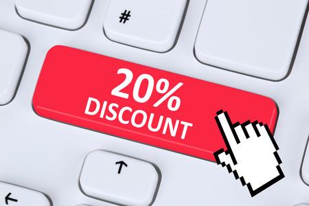 internet sale: 20% twenty percent discount button coupon voucher sale online shopping internet computer