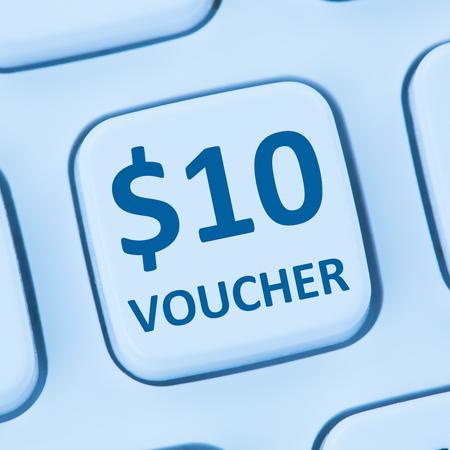 internet sale: 10 Dollar voucher gift discount sale online shopping internet store shop computer