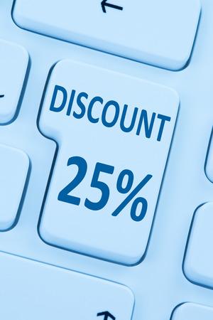 internet sale: 25% twenty-five percent discount button coupon sale online shopping internet shop computer Stock Photo