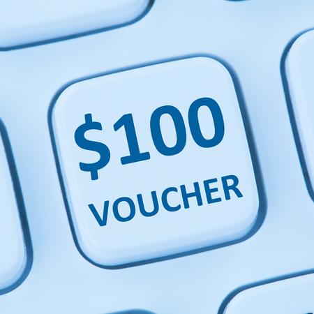 internet sale: 100 Dollar voucher gift discount sale online shopping internet store shop computer