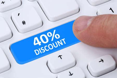 internet sale: 40% forty percent discount button coupon voucher sale online shopping internet shop computer