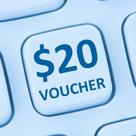internet sale: 20 Dollar voucher gift discount sale online shopping internet store shop computer