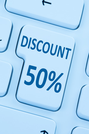 sale shop: 50% fifty percent discount button coupon sale online shopping internet shop computer