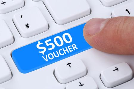 internet sale: 500 Dollar voucher gift discount sale online shopping e-commerce internet shop computer Stock Photo
