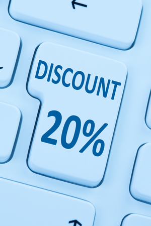 sale shop: 20% twenty percent discount button coupon sale online shopping internet shop computer Stock Photo