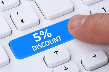 internet sale: 5% five percent discount button coupon voucher sale online shopping internet shop computer