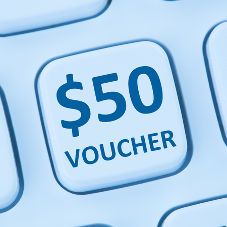 sale shop: 50 Dollar voucher gift discount sale online shopping internet store shop computer Stock Photo