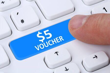 internet sale: 5 Dollar voucher gift discount sale online shopping e-commerce internet shop computer