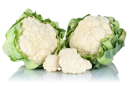 Cauliflower sliced slices fresh vegetable isolated on a white background Standard-Bild