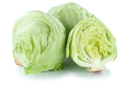 Iceberg lettuce sliced vegetable isolated on a white background