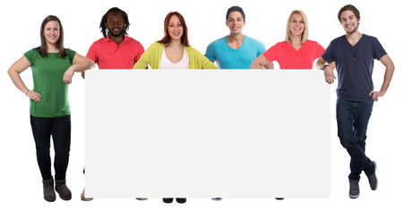 Group of young people copyspace copy space marketing empty blank sign isolated on a white background photo