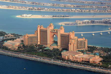 Dubai Atlantis Hotel The Palm Island aerial view photography UAE Editorial