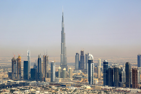 Dubai Burj Khalifa Downtown aerial view photography UAE Editorial