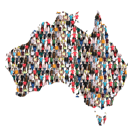 Australia map multicultural group of people integration immigration diversity isolated