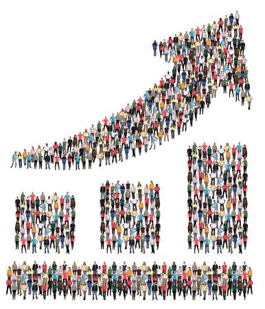 Wachstum Gruppe von Menschen Erfolg Business Chart Marketing wächst Standard-Bild - 89721275