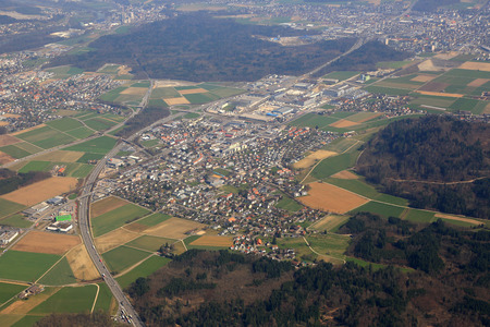 aargau: Hunzenschwil Canton Aargau Switzerland town aerial view photography photo Stock Photo