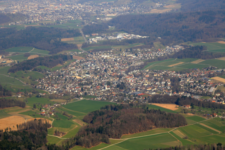 aargau: Seon Canton Aargau Switzerland aerial view photography photo Stock Photo