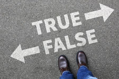False true truth fake news lie lying facts decision decide comparison choice Stock Photo - 80729490