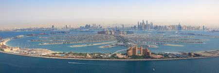 Dubai The Palm Jumeirah Island Atlantis Hotel panorama Marina aerial panoramic view photography UAE